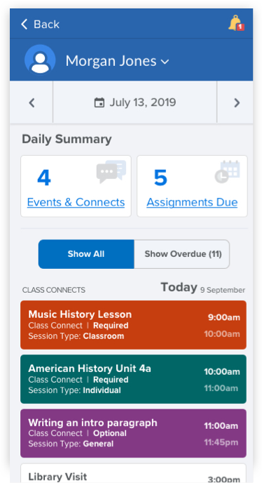 screenshots of the Get Help Now section of the K12 App