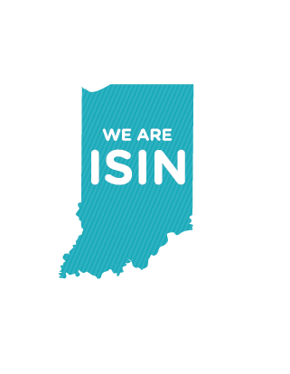 Indiana state with We are ISIN text