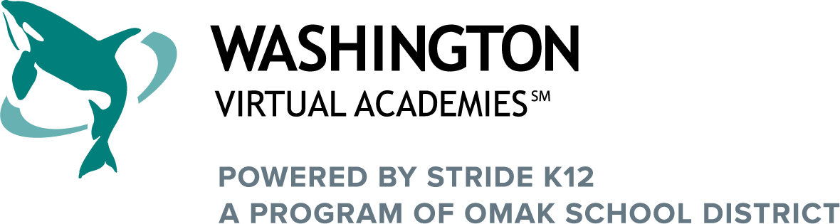 Logo of Washington Virtual Academies with text Powered by K12